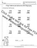 three digit addition and subtraction worksheets