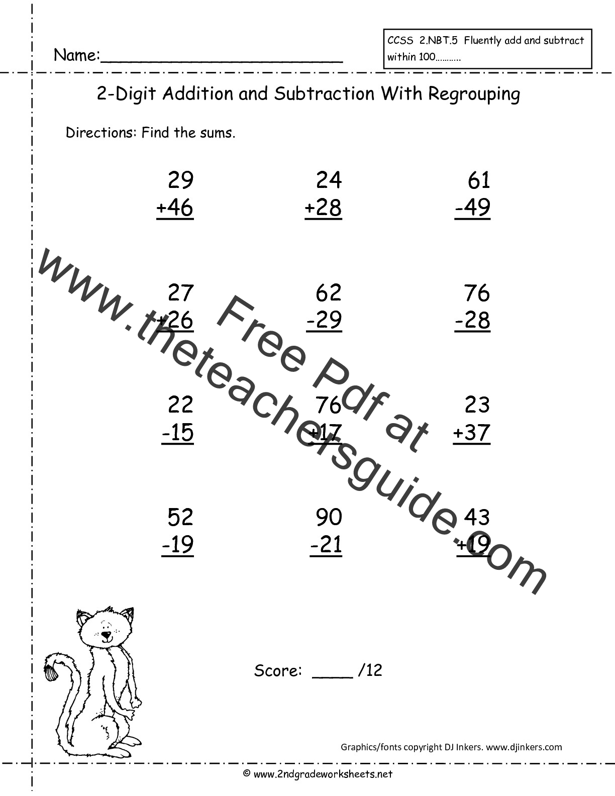 Two Digit Addition and Subtraction Worksheets from The Teachers Guide – Subtraction Worksheets Year 2