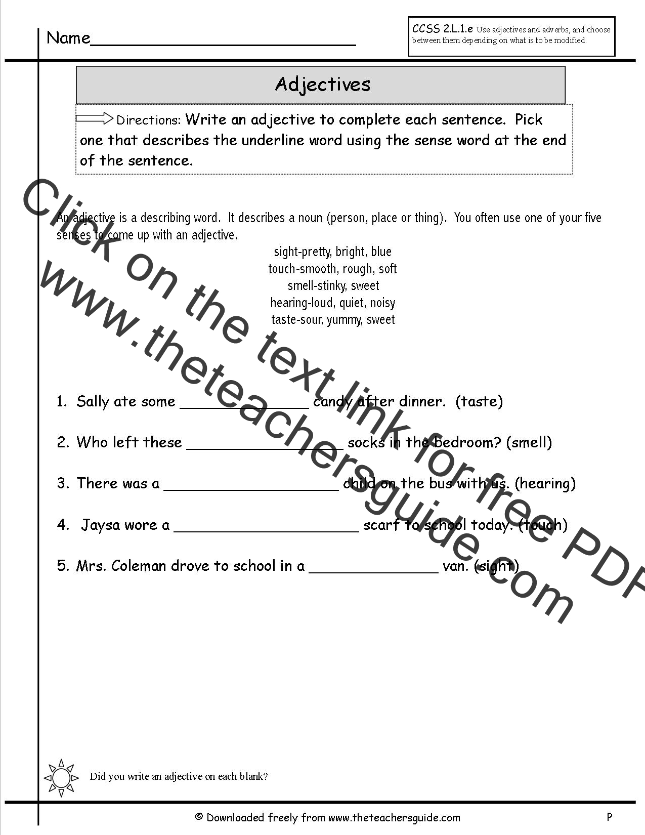 Worksheet Adjectives Exercises Worksheets adjectives worksheets from the teachers guide worksheet