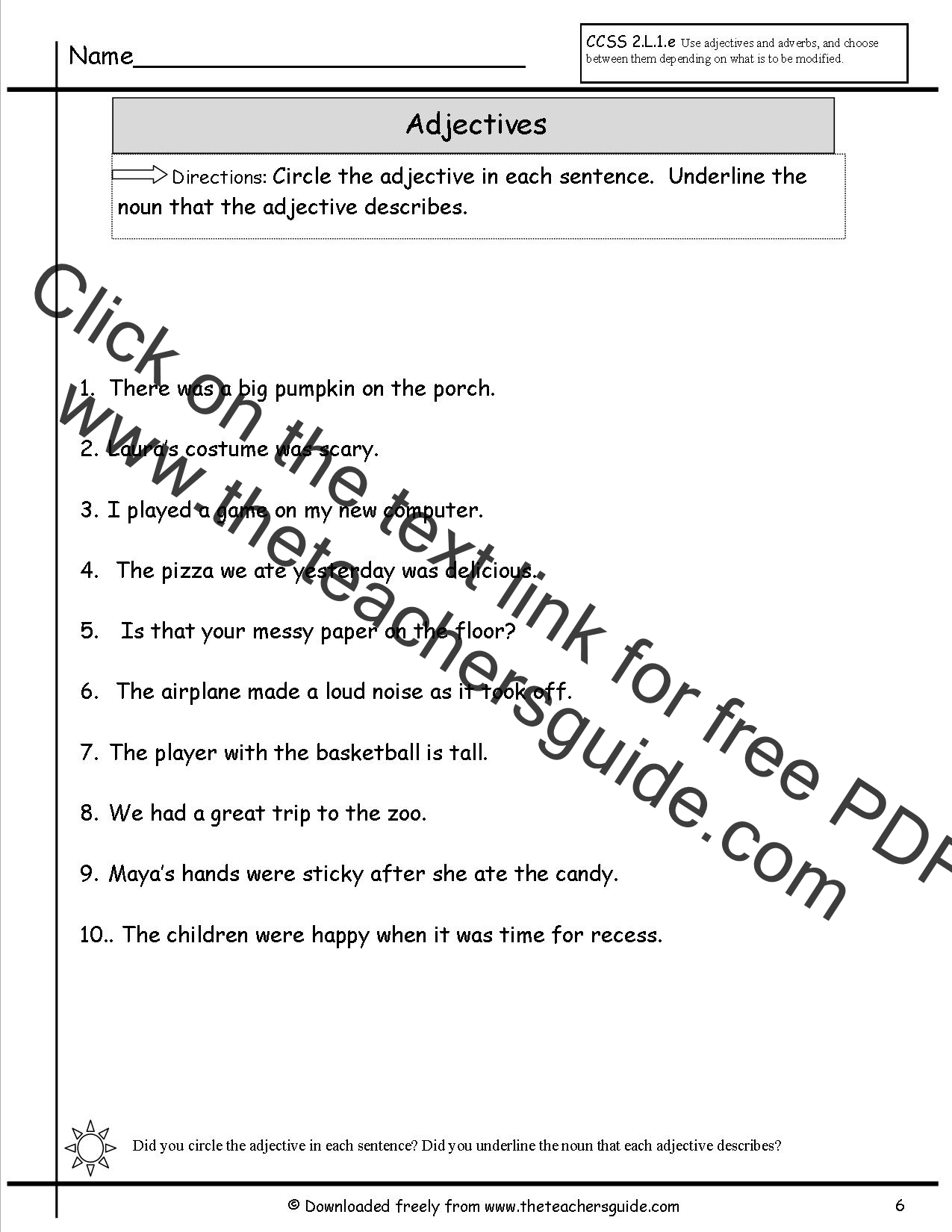 Worksheet Circle The Nouns adjectives worksheets from the teachers guide worksheet students underline a noun and circle
