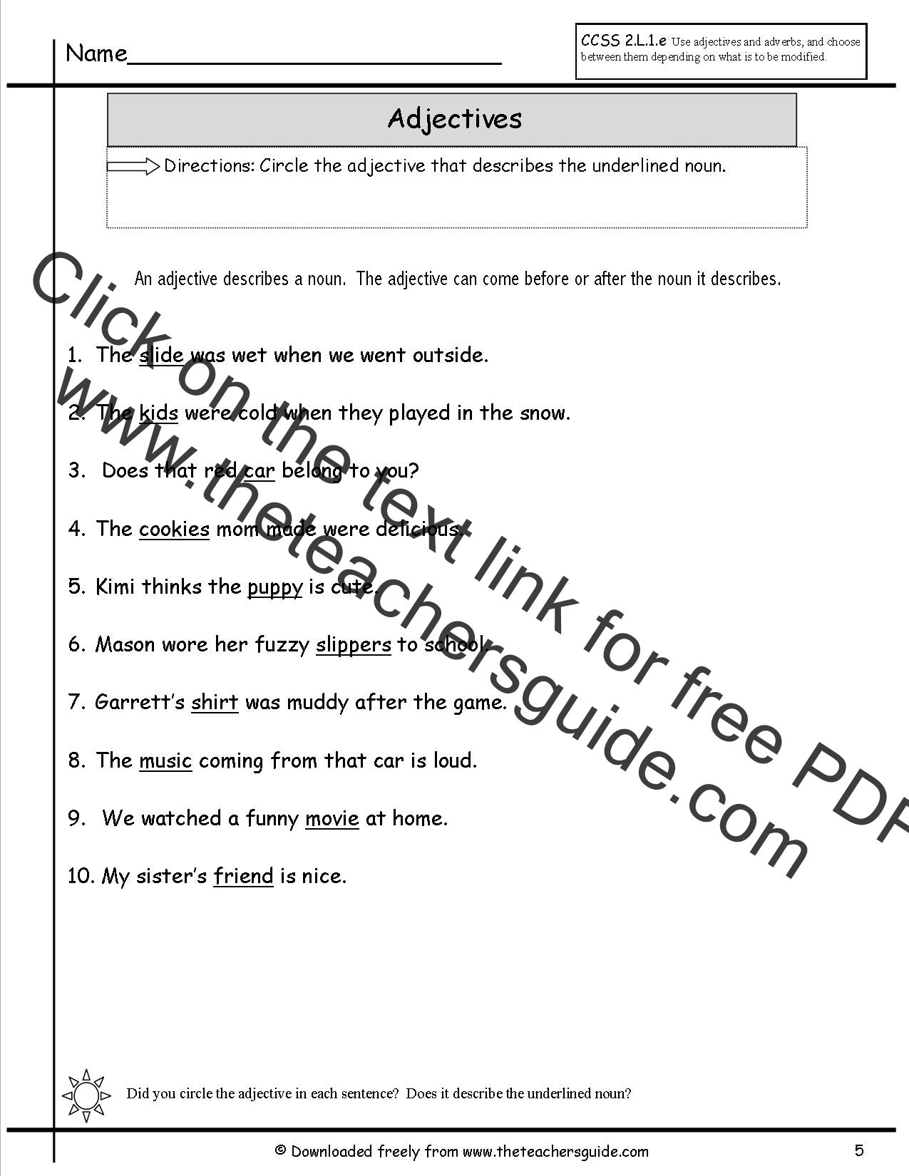 Adjectives Worksheets from The Teacher's Guide