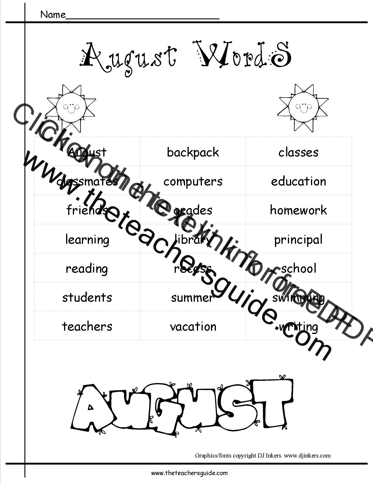 august lesson plans  themes  holidays  and printouts