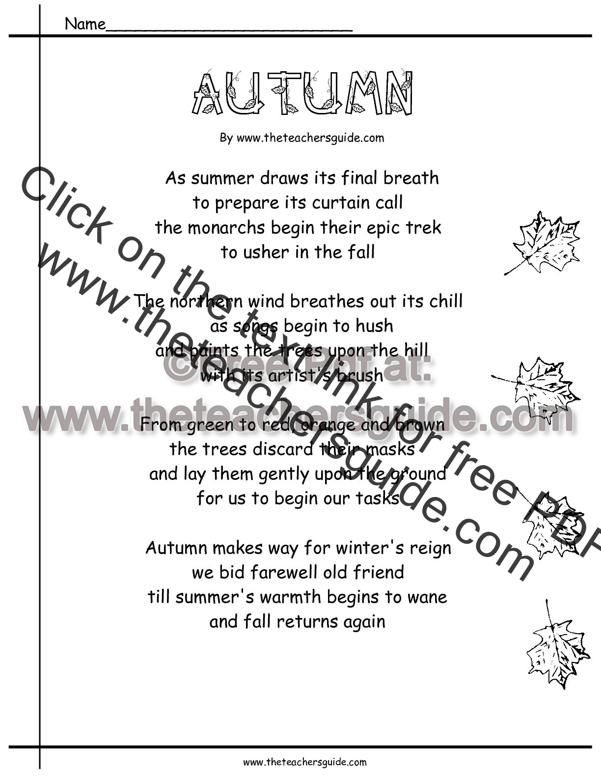 autumn poem worksheet - Fall Worksheets For First Grade