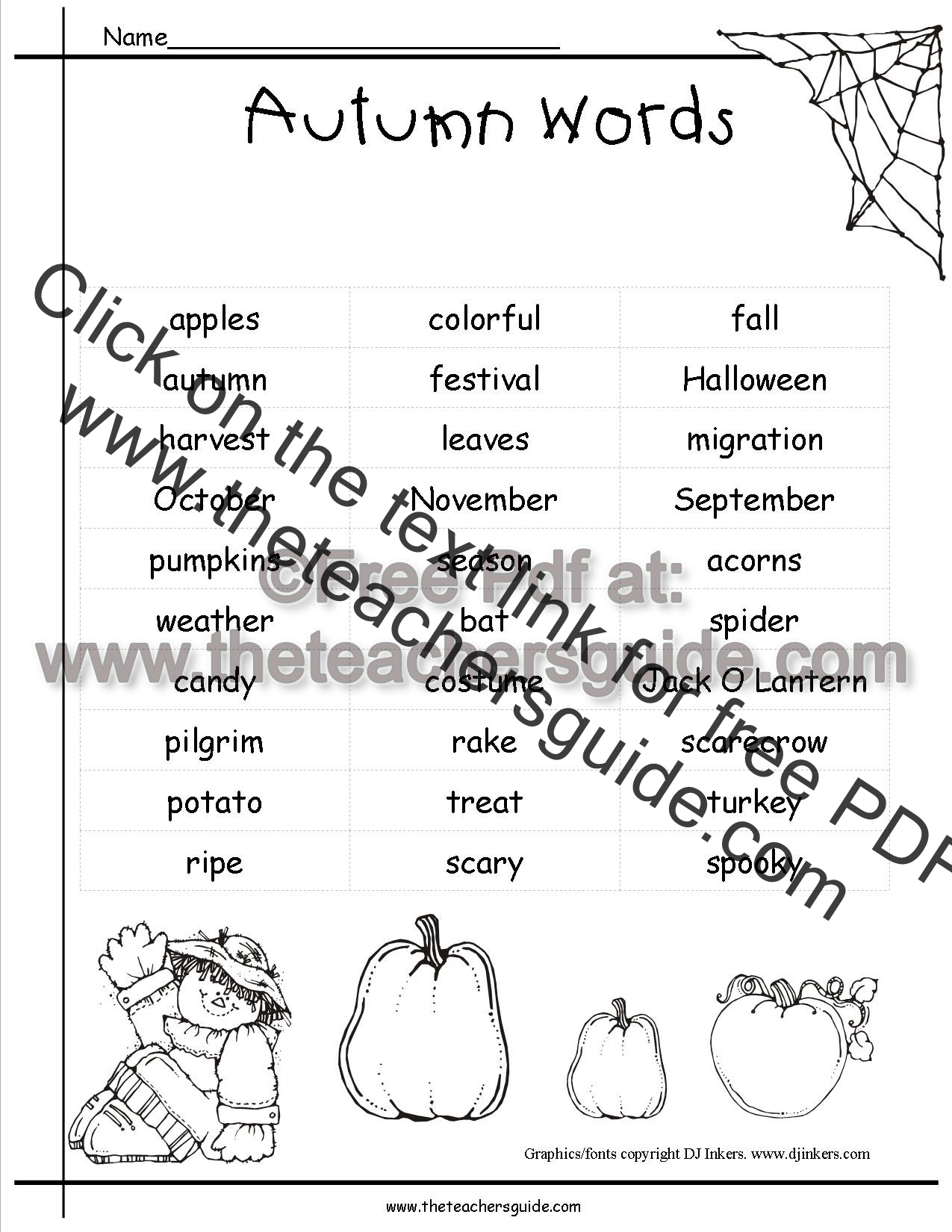 Autumn Worksheets and Printouts from The Teacher's Guide