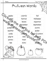 autumn word list printout