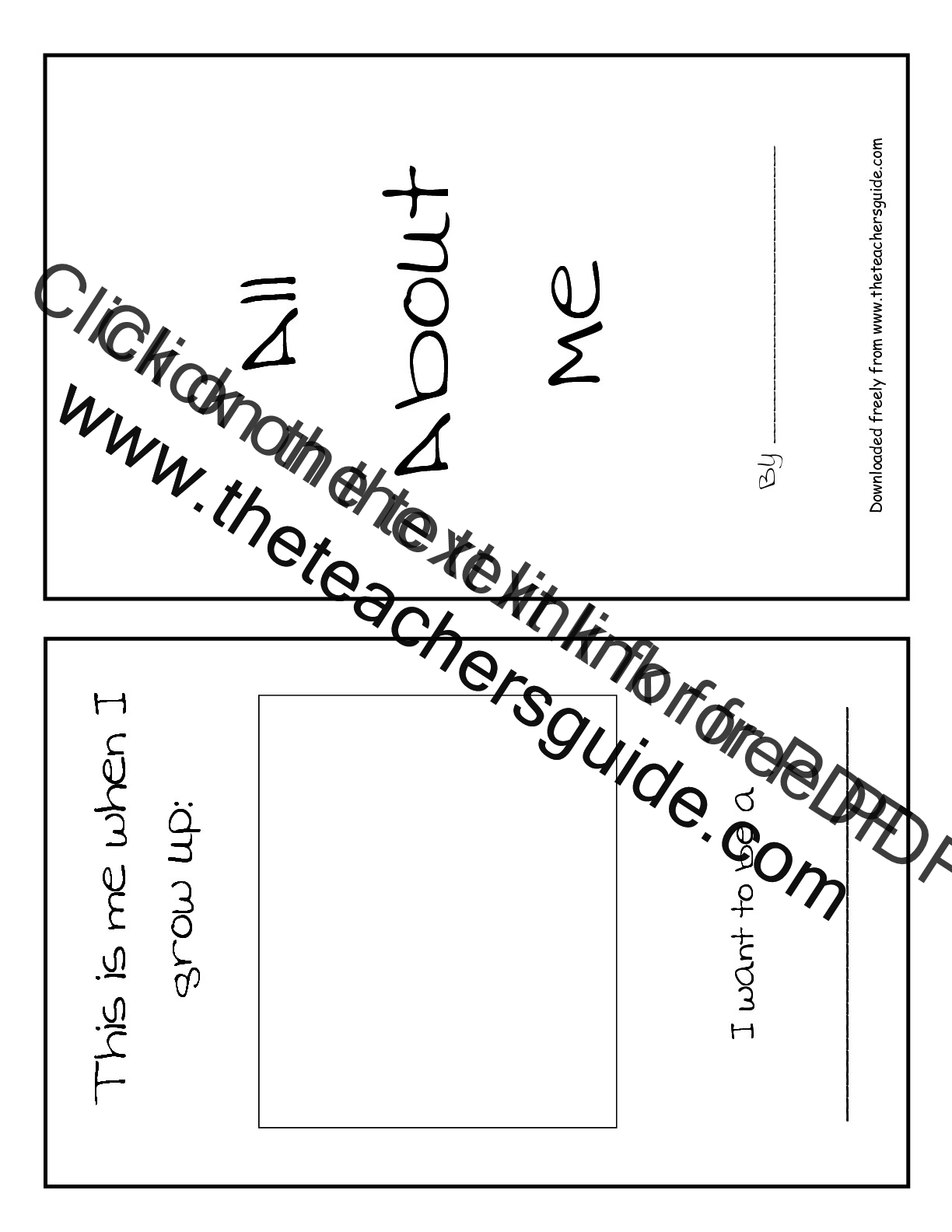 Back to School Printouts from The Teachers Guide – All About Me Worksheet for Kindergarten