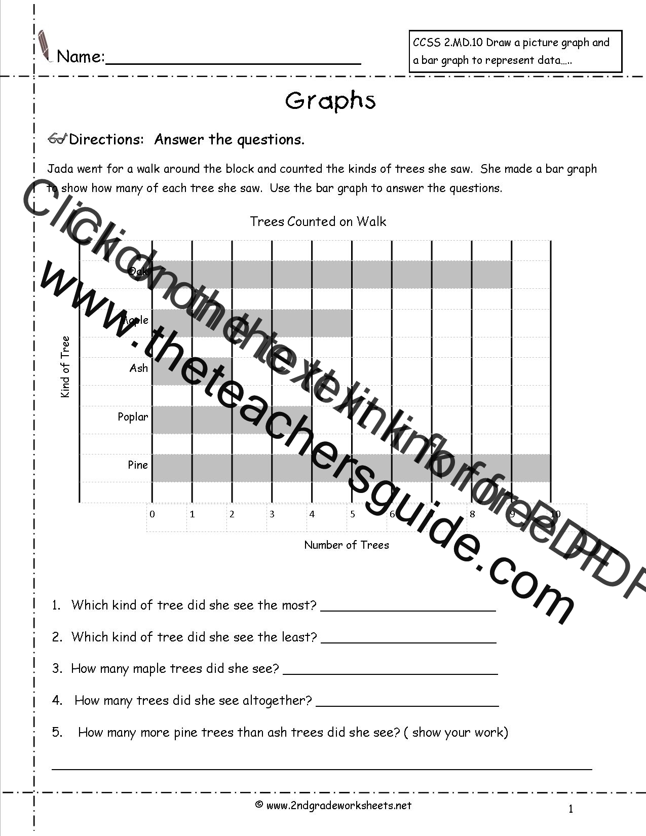 Worksheets Graphs Worksheets reading and creating bar graphs worksheets from the teachers guide trees graph