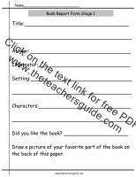 book report worksheet