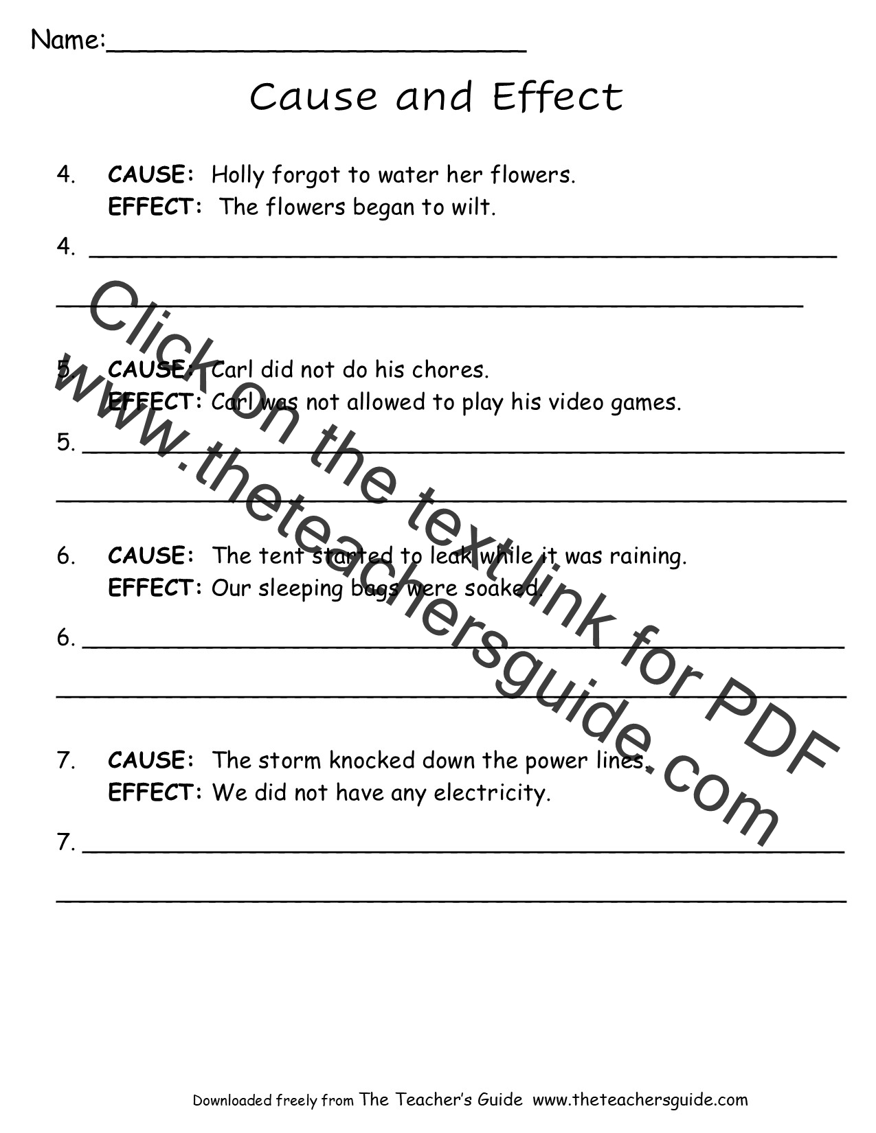 worksheet Cause And Effect Worksheets For Middle School cause and effect worksheets from the teachers guide worksheet
