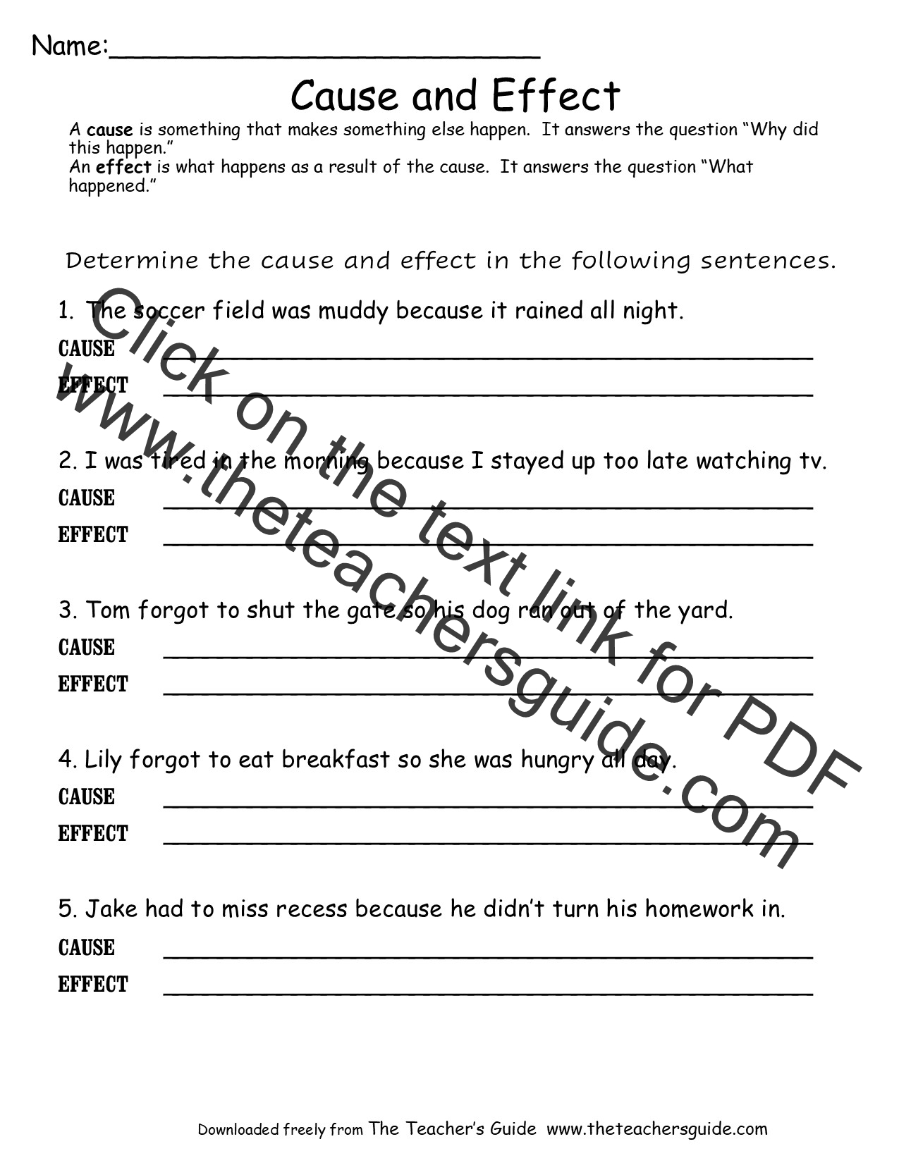 Worksheets  Cause and Effect Worksheets from The Teacher'