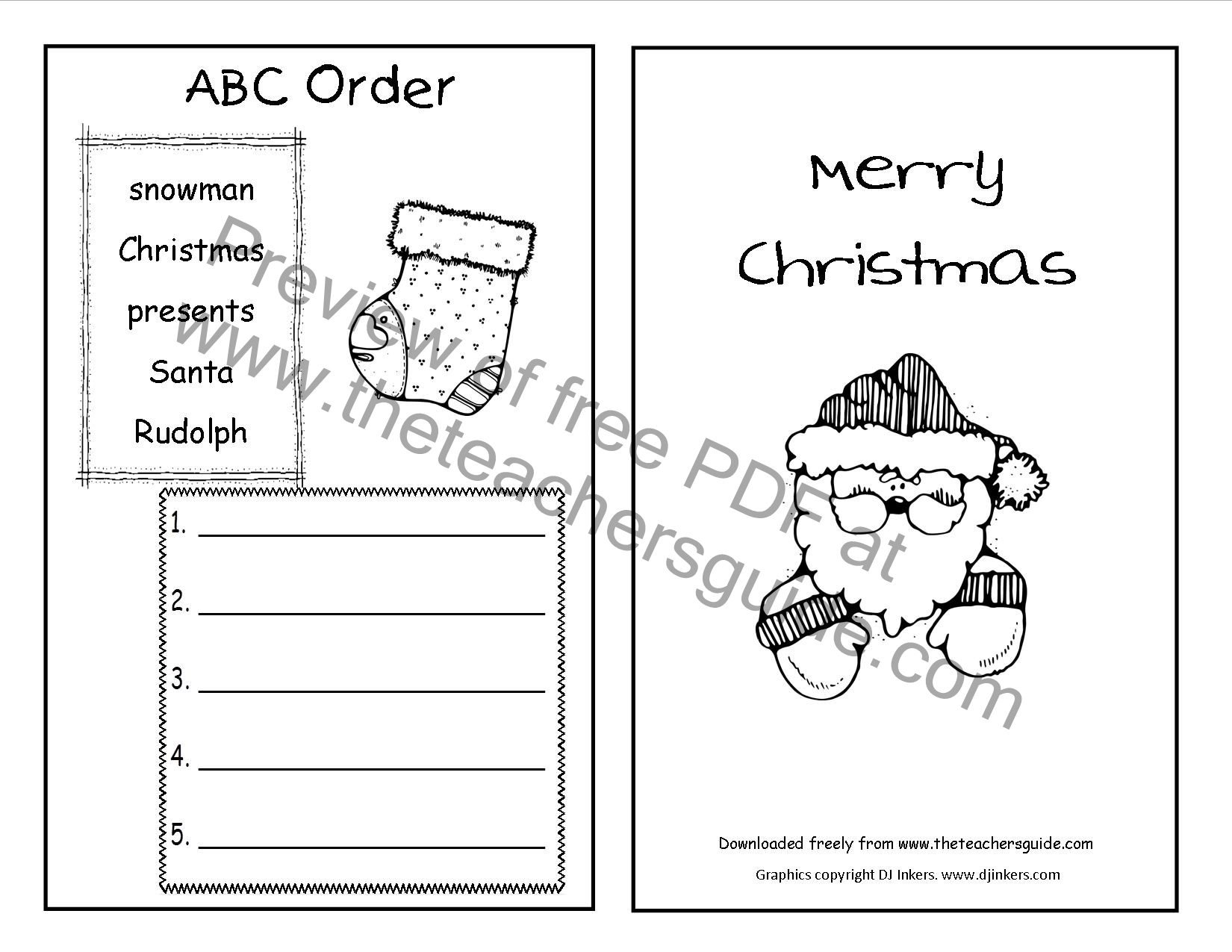 christmas printouts from the teacher u0027s guide