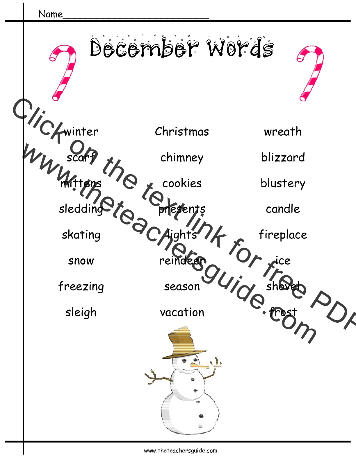 Christmas Printouts from The Teacher\'s Guide