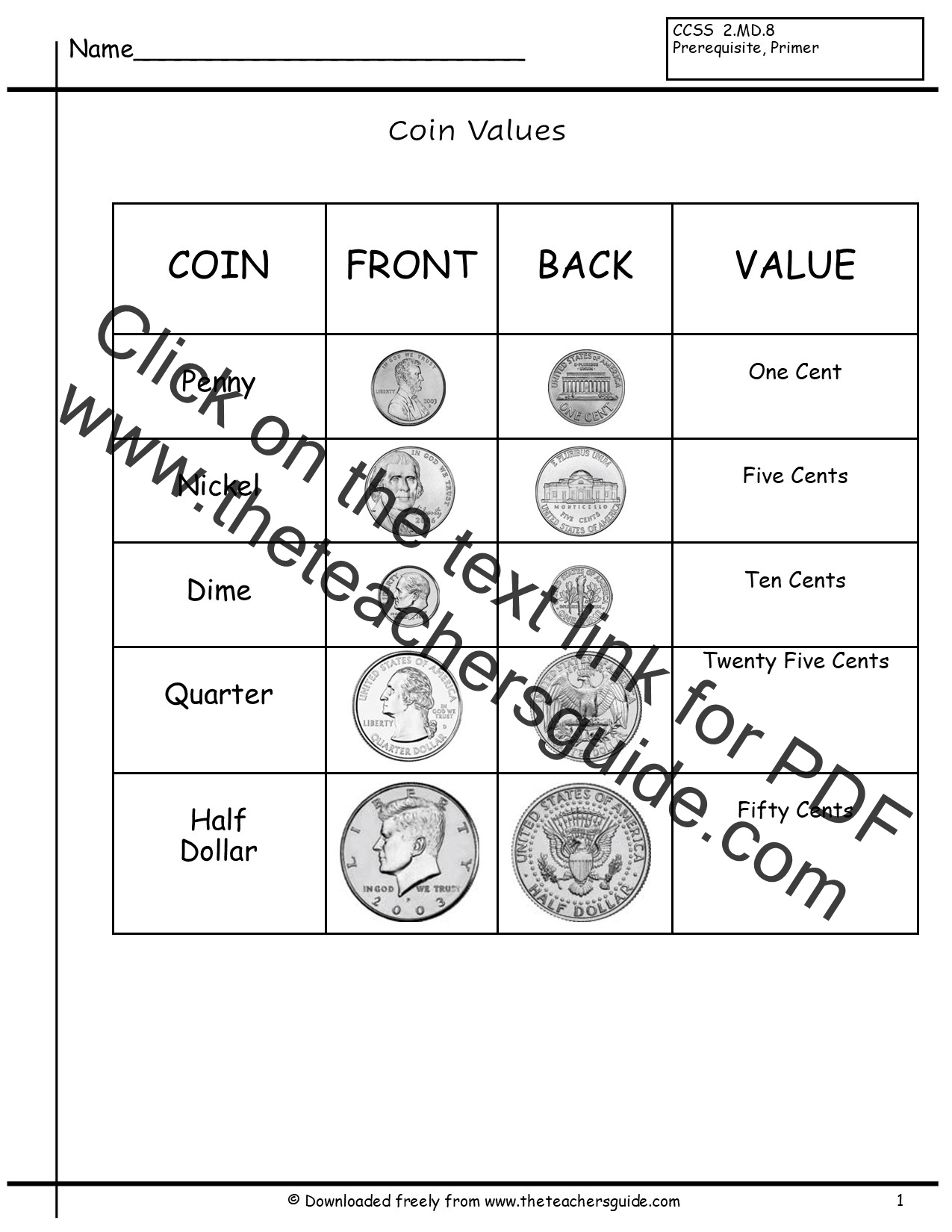 Worksheets Coin Values Worksheet counting coins worksheets from the teachers guide coin identification and values