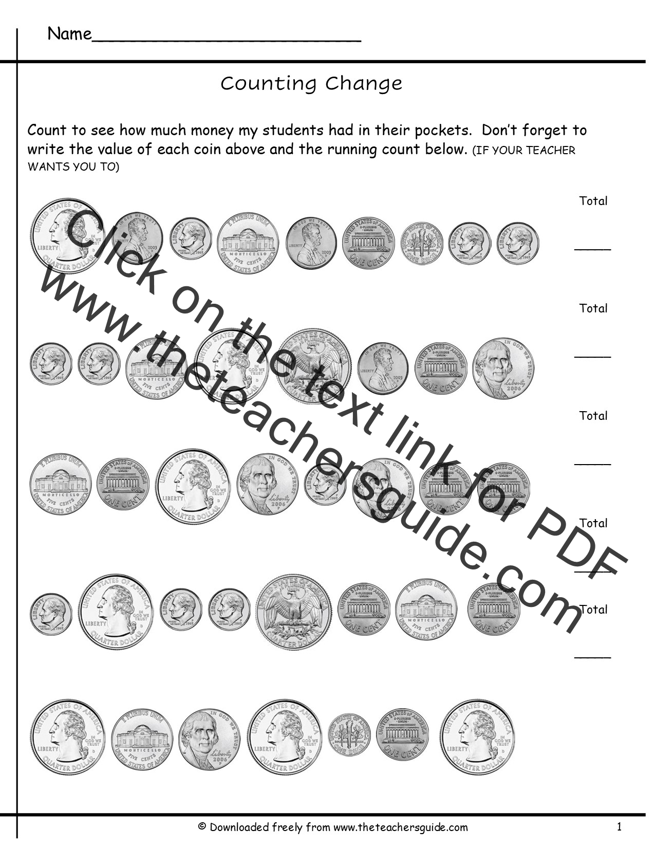 Counting Coins Worksheets from The Teachers Guide – Identifying Coins Worksheets