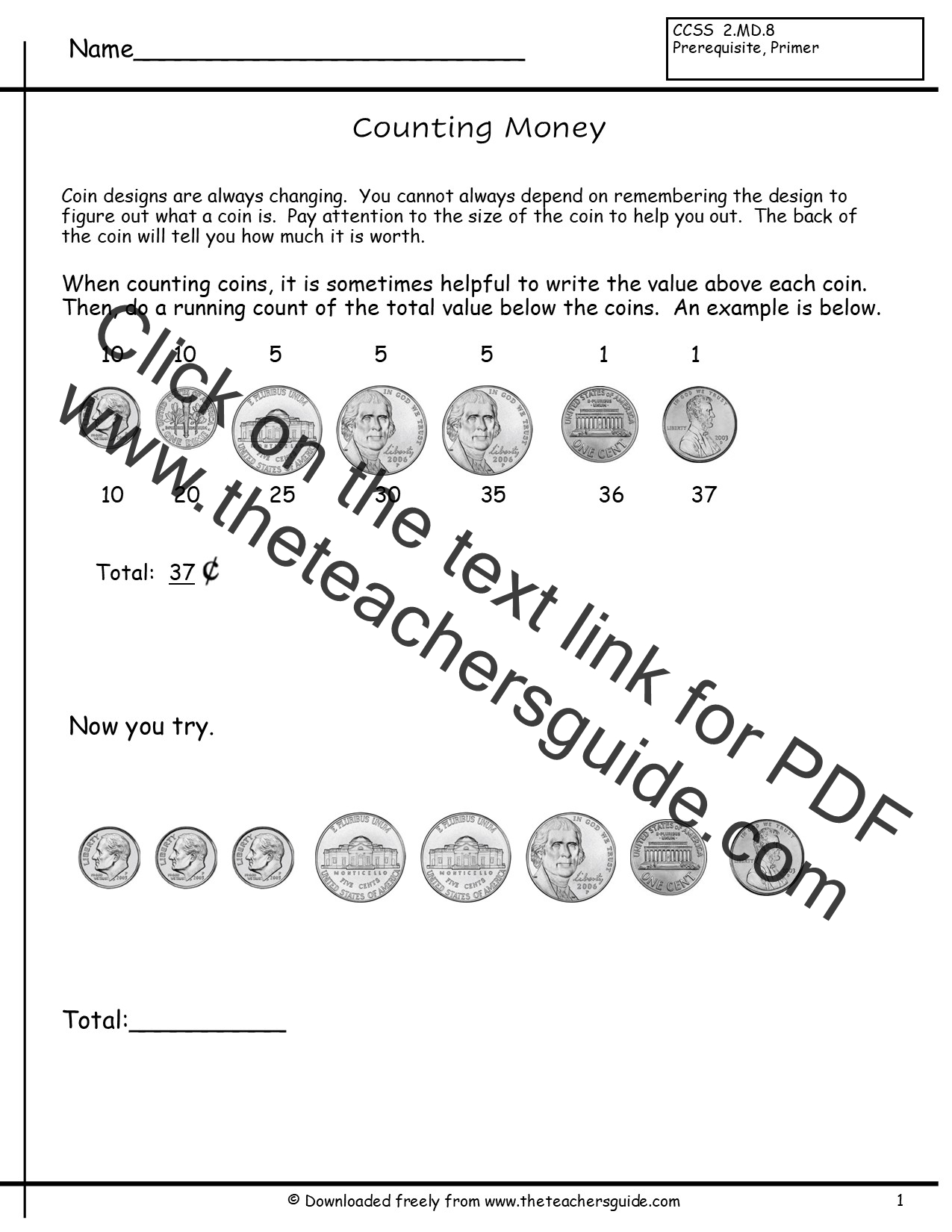 Counting Coins Worksheets from The Teachers Guide – Value of Coins Worksheet