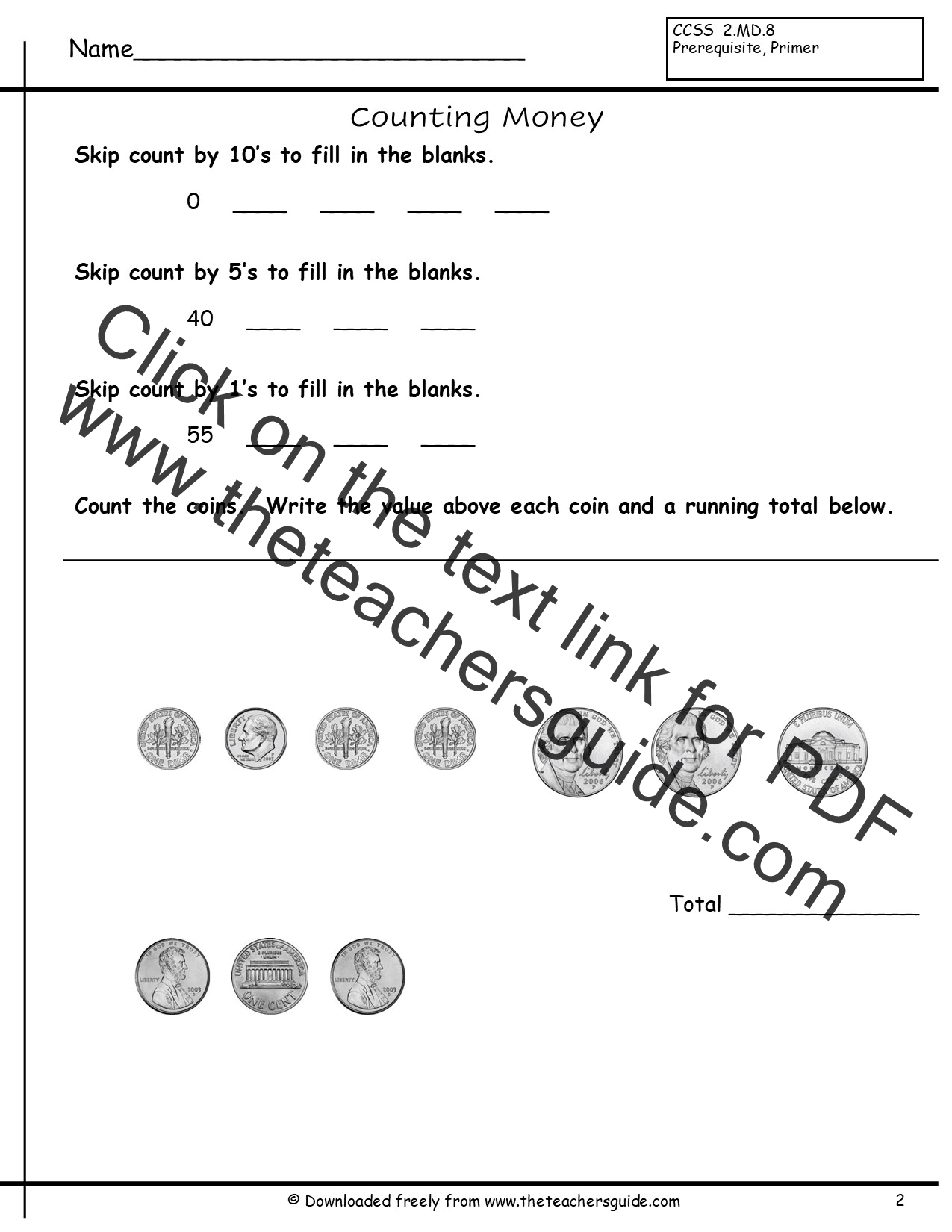 Free Math Printouts from The Teachers Guide – Coin Value Worksheets