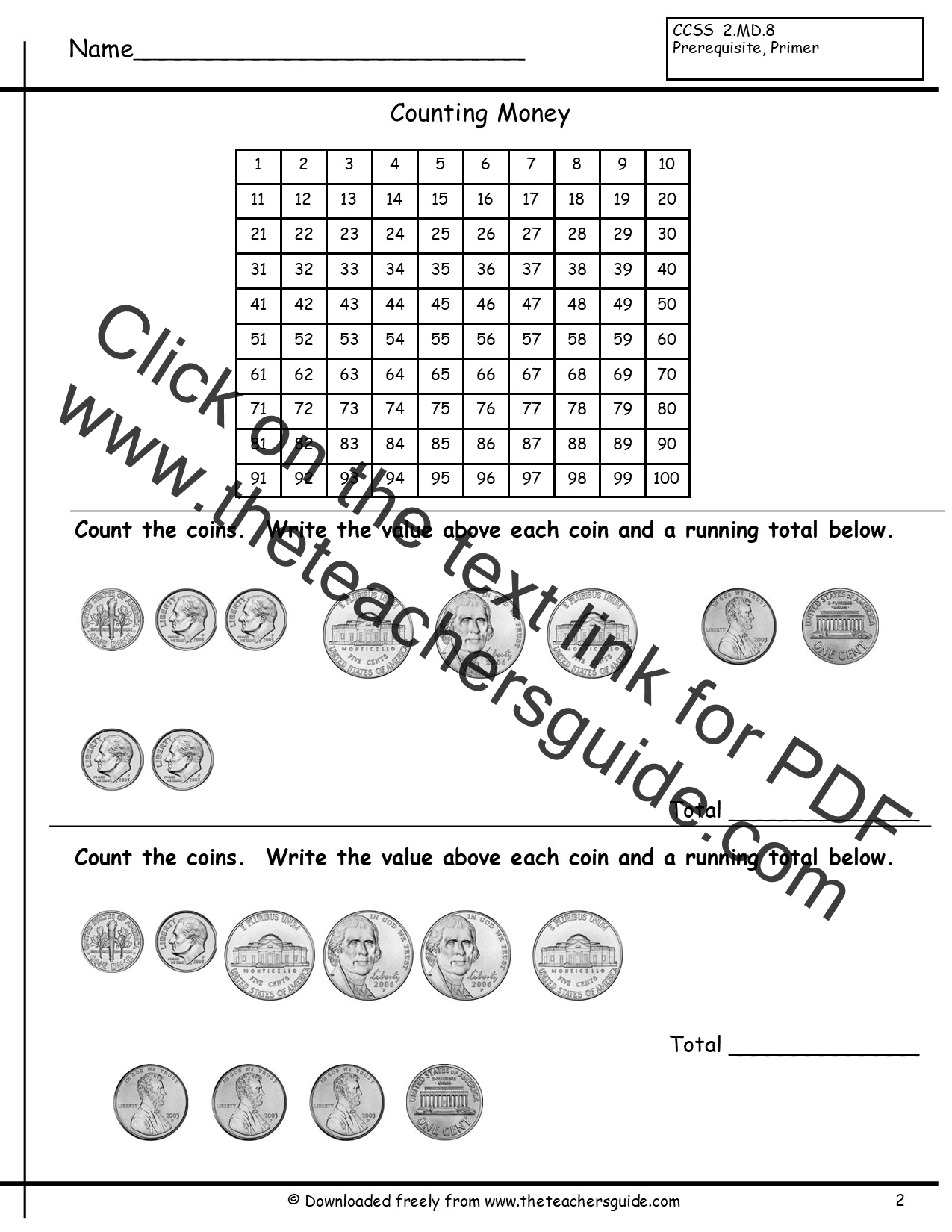 Counting Coins Worksheets from The Teachers Guide – Counting Coin Worksheets