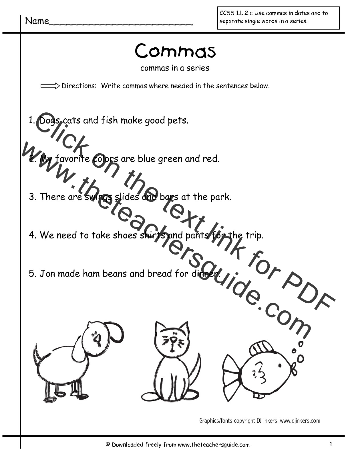Comma Worksheets. Punctuation Worksheets Grade 2. To 3 Commas How Long ...