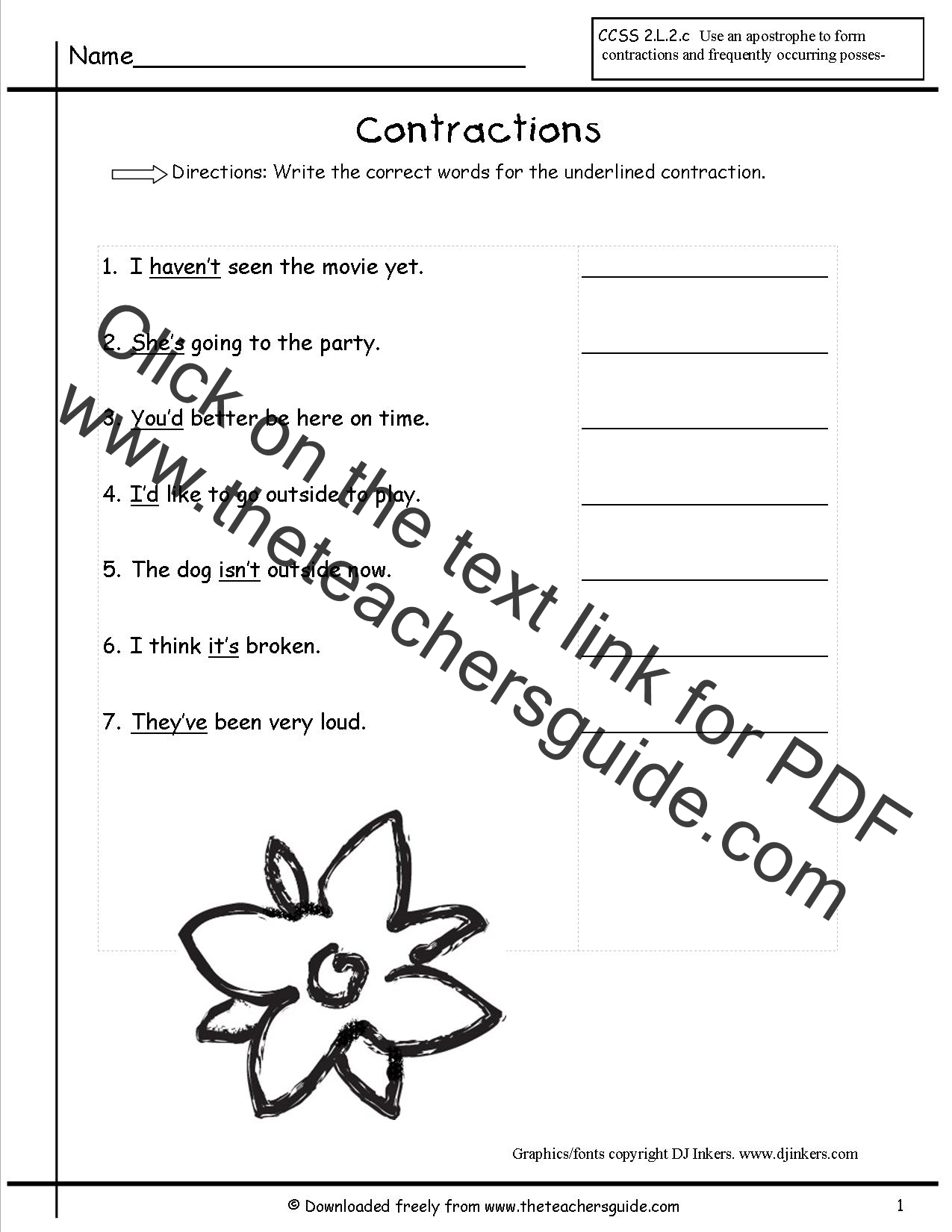 worksheet Contractions Worksheets 5th Grade contractions worksheets from the teachers guide worksheet