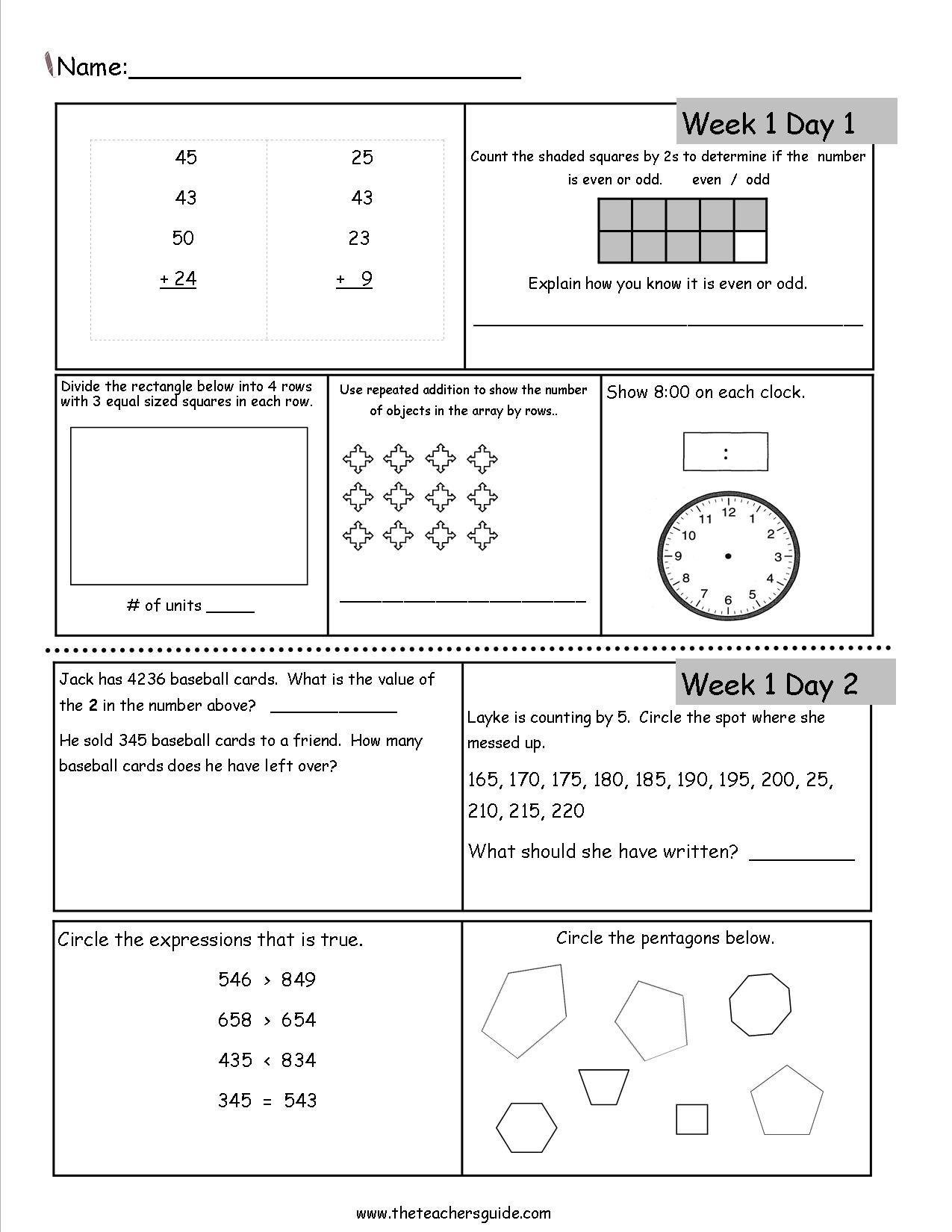 Math Worksheets for 3rd Grade | second grade math worksheets ...