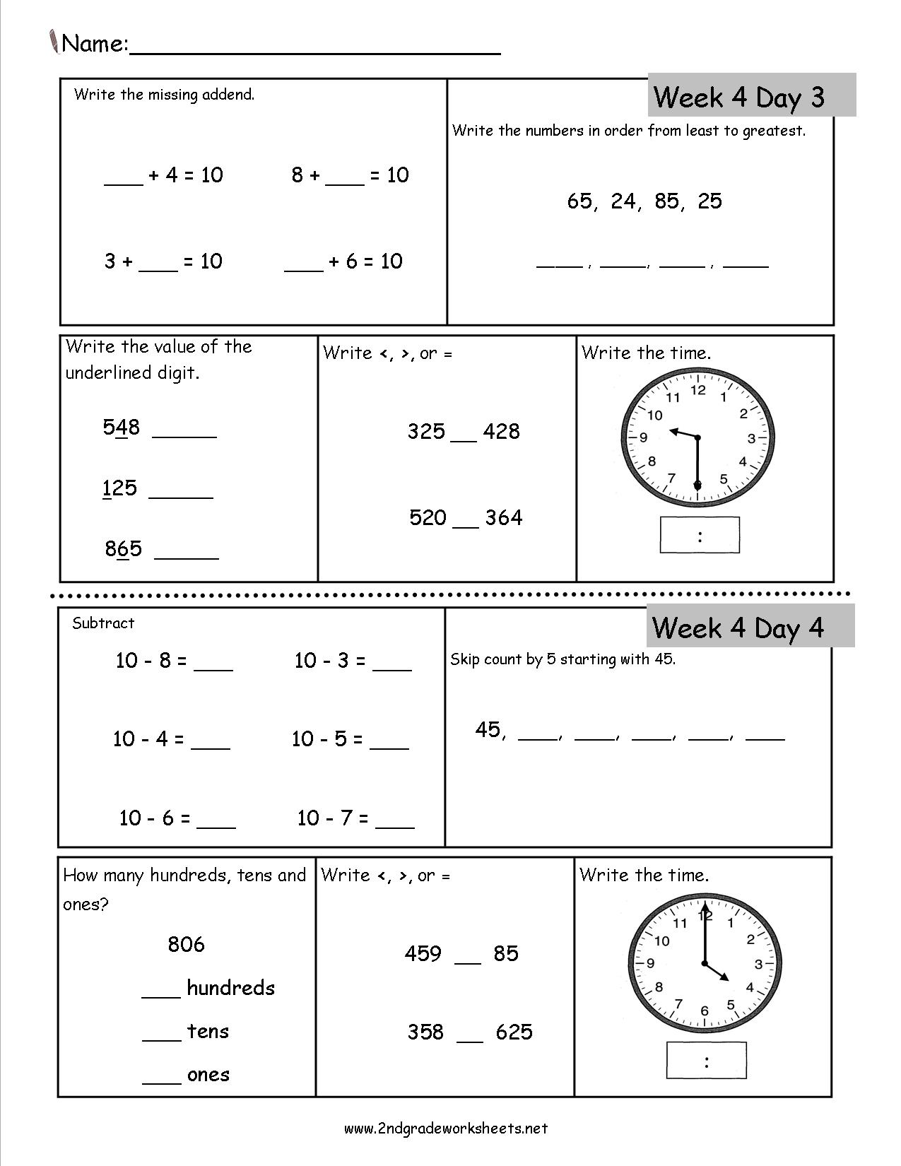 Free 2nd Grade Daily Math Worksheets – Free 2 Grade Math Worksheets