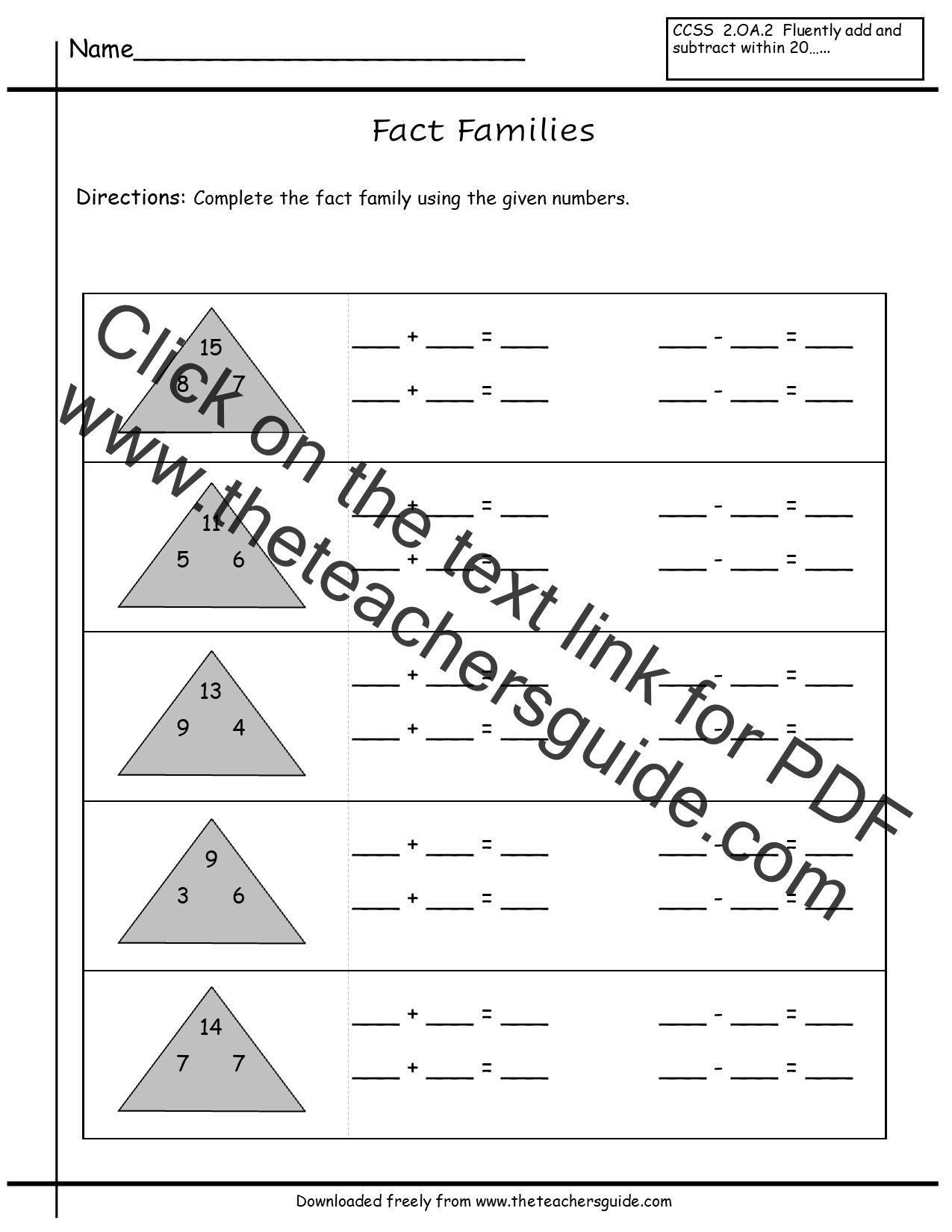 worksheet Fact Family comparing numbers worksheets from the teachers guide fact family worksheets