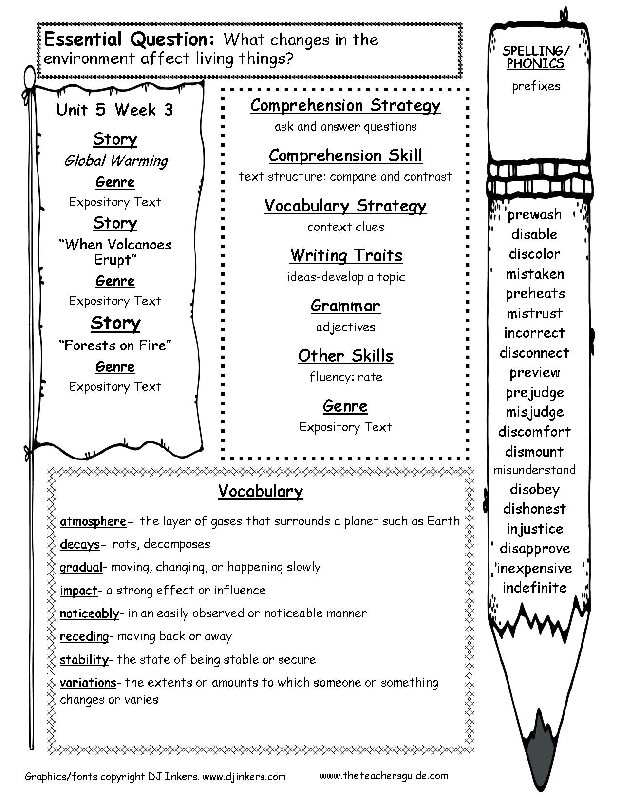 Worksheets Compare And Contrast Reading Worksheets mcgraw hill wonders fifth grade resources and printouts unit 5 3 five week three