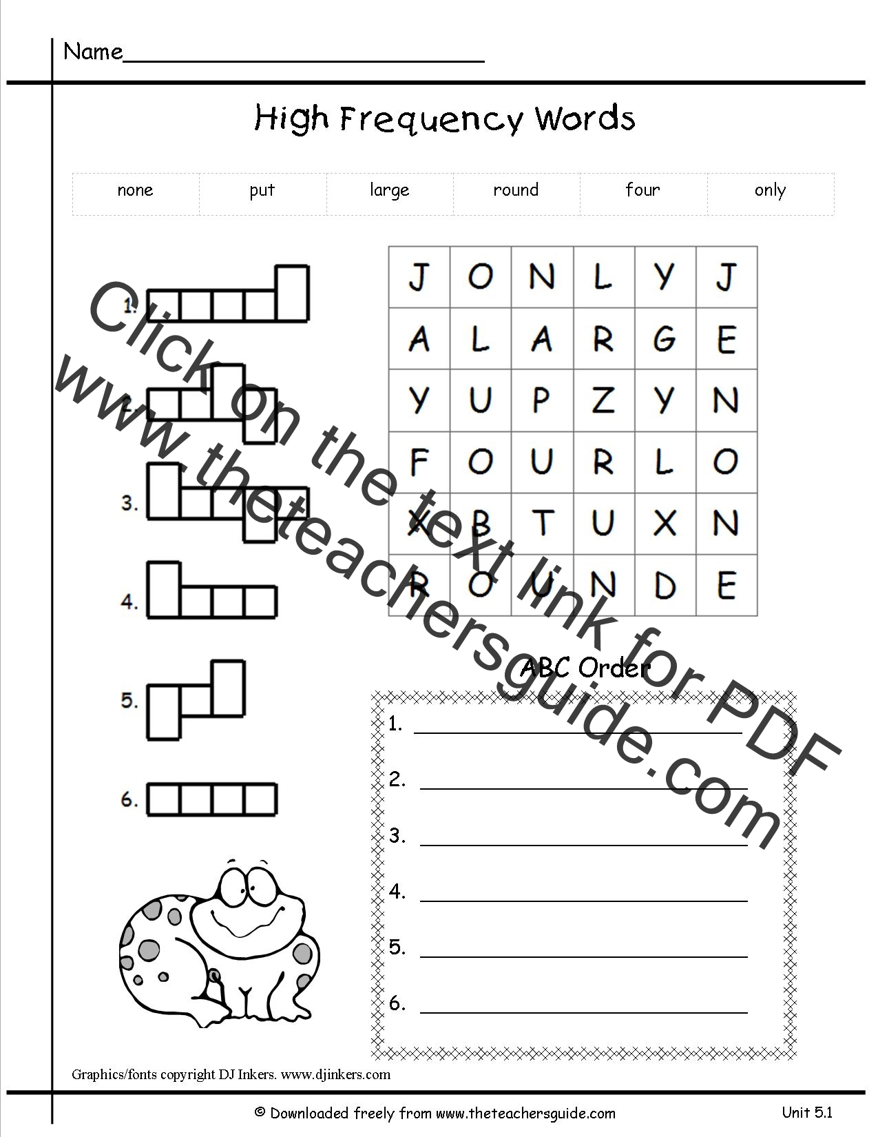 Printables Phonics Worksheets 1st Grade wonders first grade unit four week five printouts one printout high frequency words worksheet
