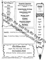 wonders first grade unit four week four printout weekly outline
