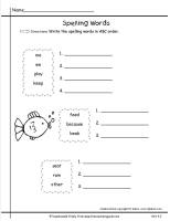 wonders first grade unit four week two printout spelling words abc order