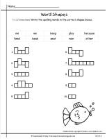 wonders first grade unit four week two printout speling word shapes