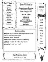 first grade wonders unit one week five weekly outline