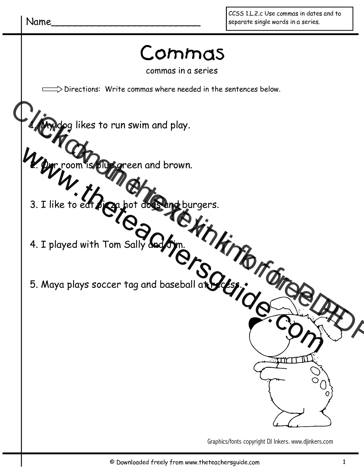 worksheet Commas In A Series Worksheets wonders first grade unit three week one printouts commas in a worksheet