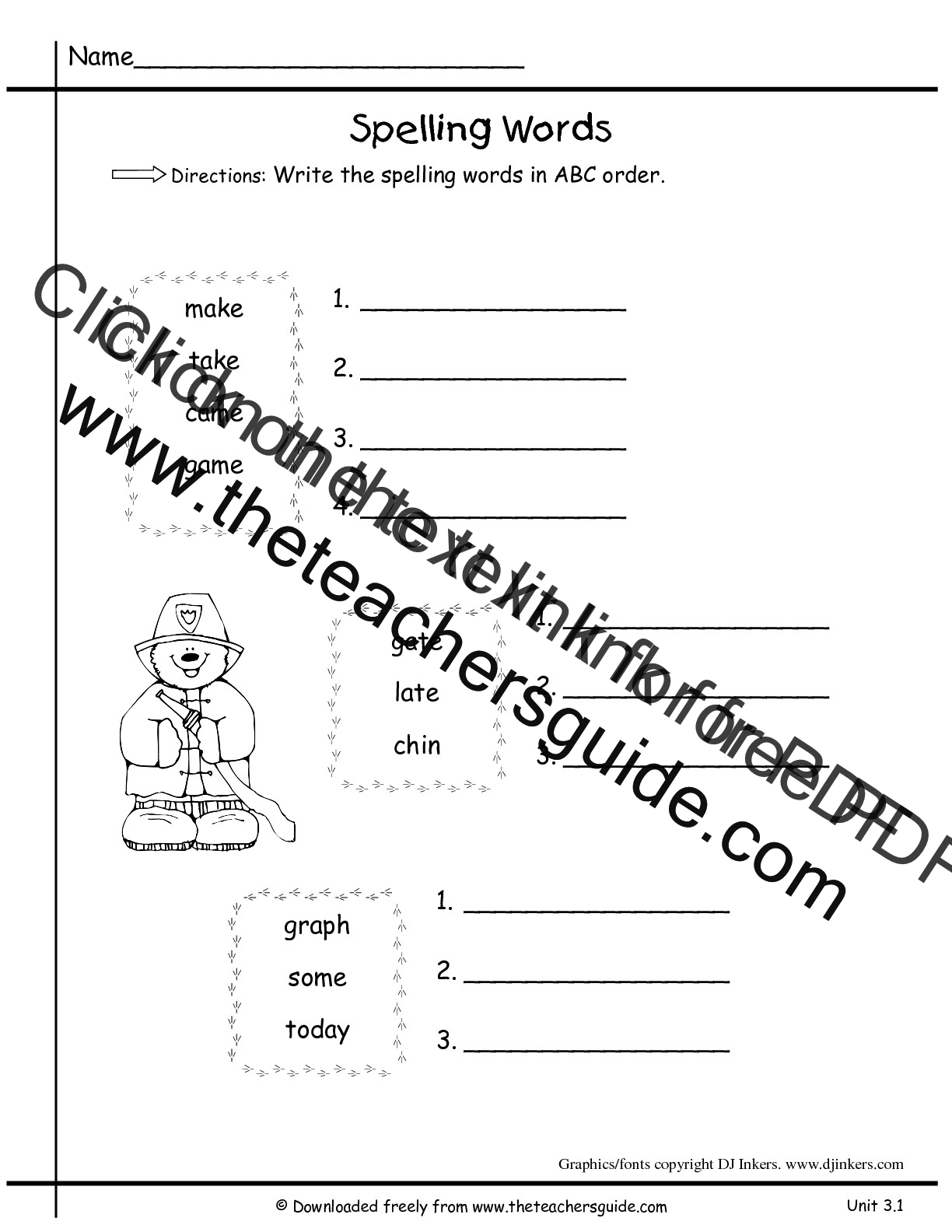 worksheet Alphabetical Order Worksheet wonders first grade unit three week one printouts spelling abc order