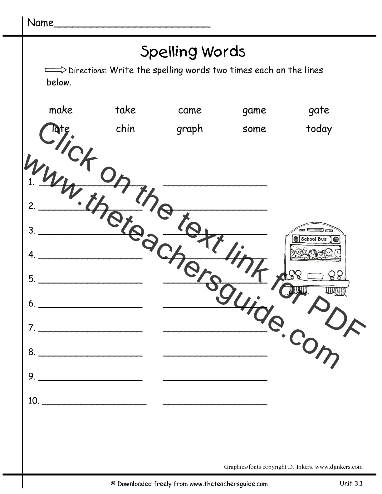 Worksheets First Grade Spelling Words Worksheets wonders first grade unit three week one printouts 3 spelling