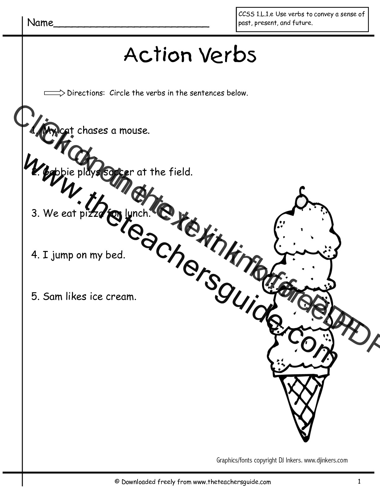 Verbs Worksheet Students Identify Verbs In A Sentence