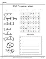 first grade wonders unit 3 week 2 high frequency words sheet