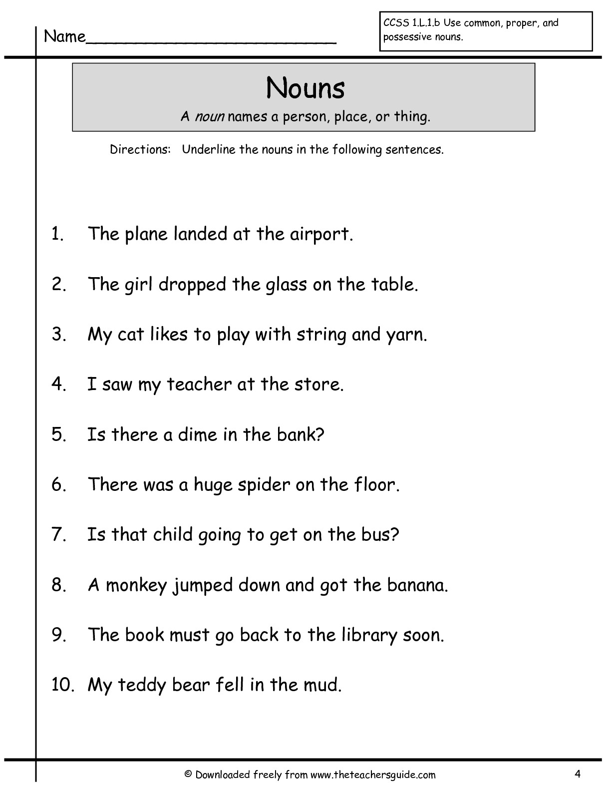 Uncategorized Comma Worksheets wonders first grade unit two week one printouts nouns worksheet