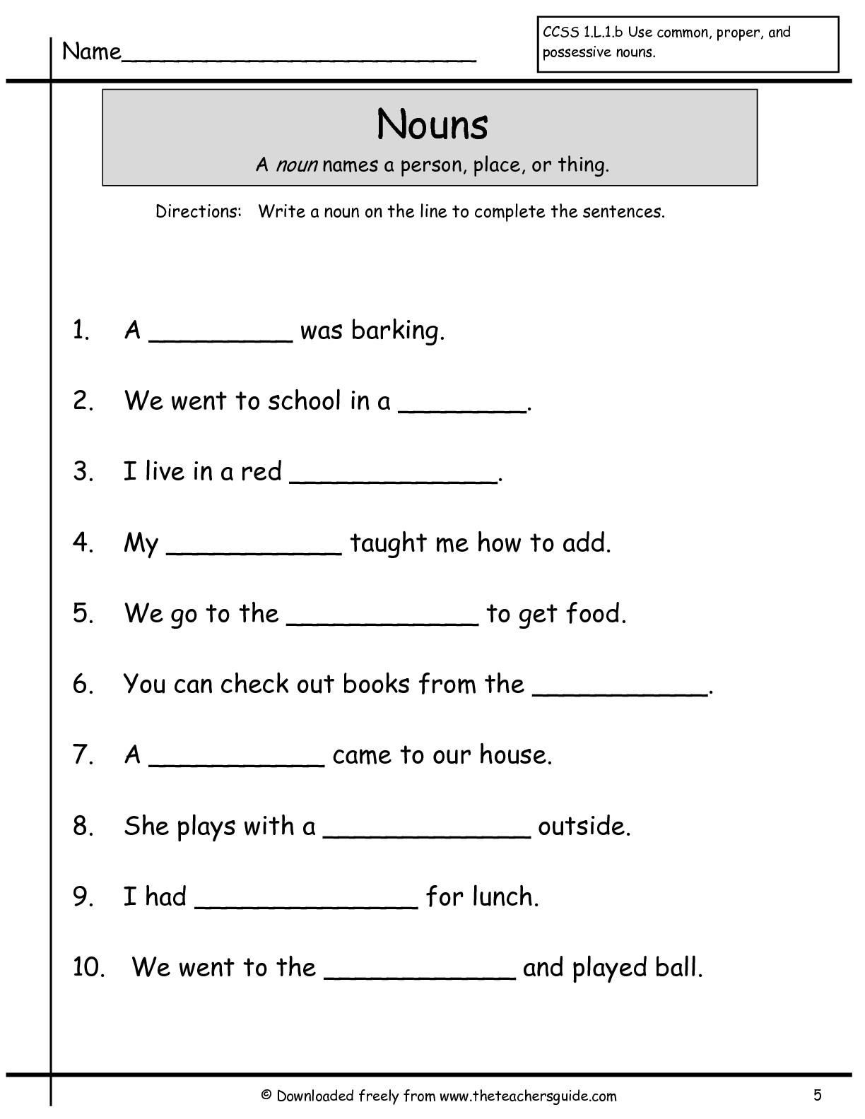 Worksheet Ist Grade Worksheets wonders first grade unit two week one printouts 1st nouns worksheet worksheet