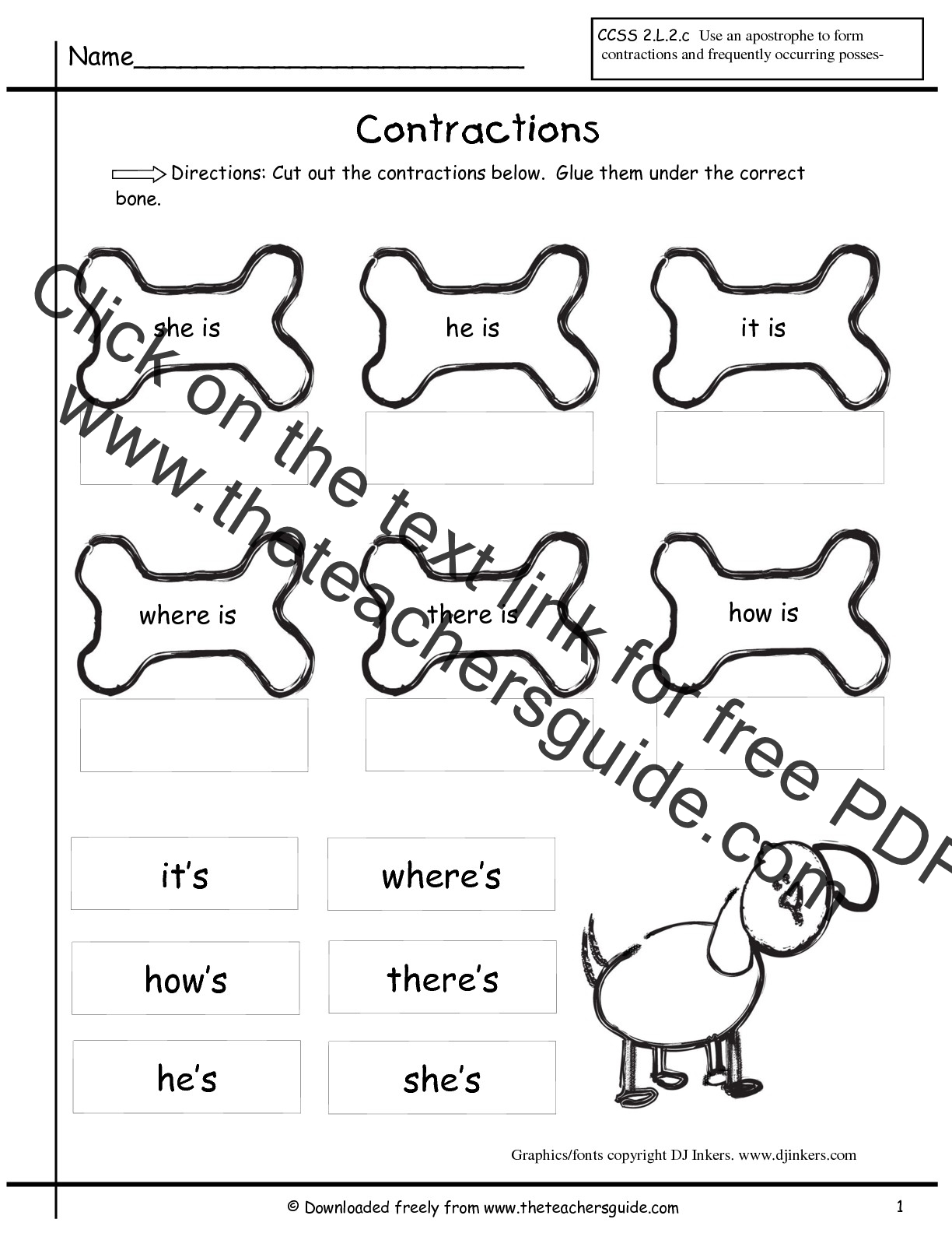 Worksheet Ist Grade Worksheets wonders first grade unit two week printouts contractions worksheet