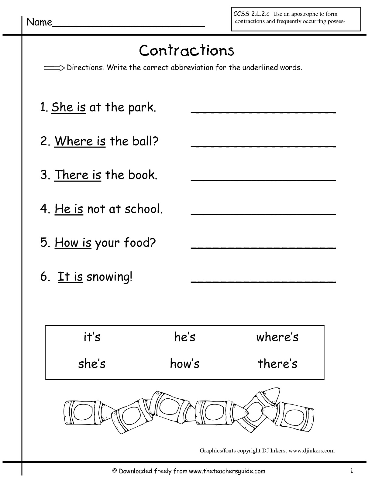 Printables Contraction Worksheets For First Grade wonders first grade unit two week printouts contractions worksheet