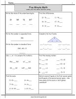 five minute math worksheet