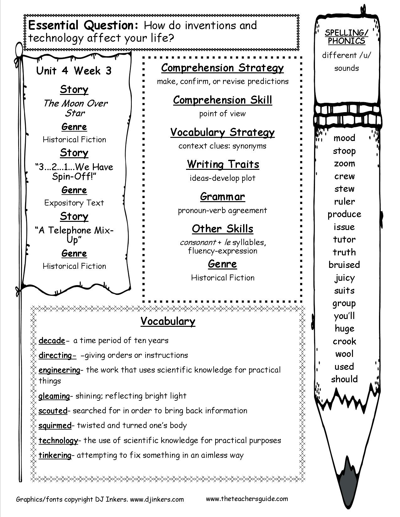 McGrawHill Wonders Fourth Grade Resources and Printouts – 4th Grade History Worksheets