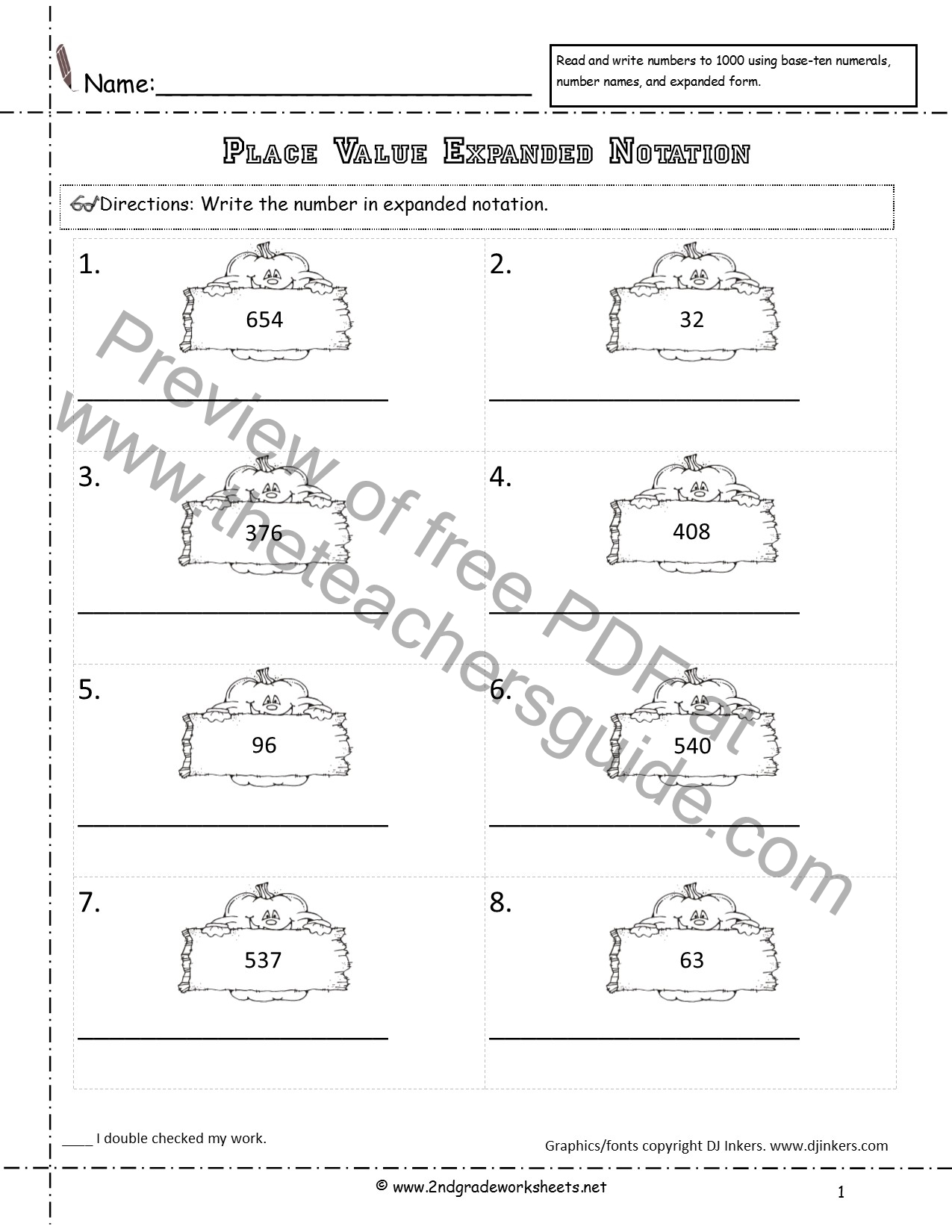 Uncategorized Expanded Notation Worksheets halloween printouts from the teachers guide numbers in expanded notation