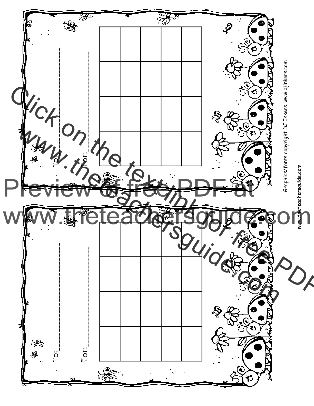 Reward chart. Students can color their own chart.