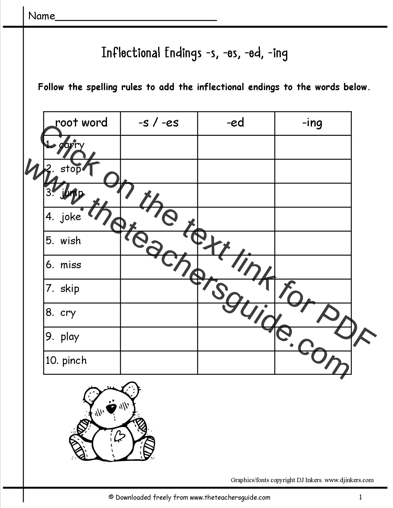 Printables Inflectional Endings Worksheet inflectional endings worksheets hypeelite wonders second grade unit four week two printouts