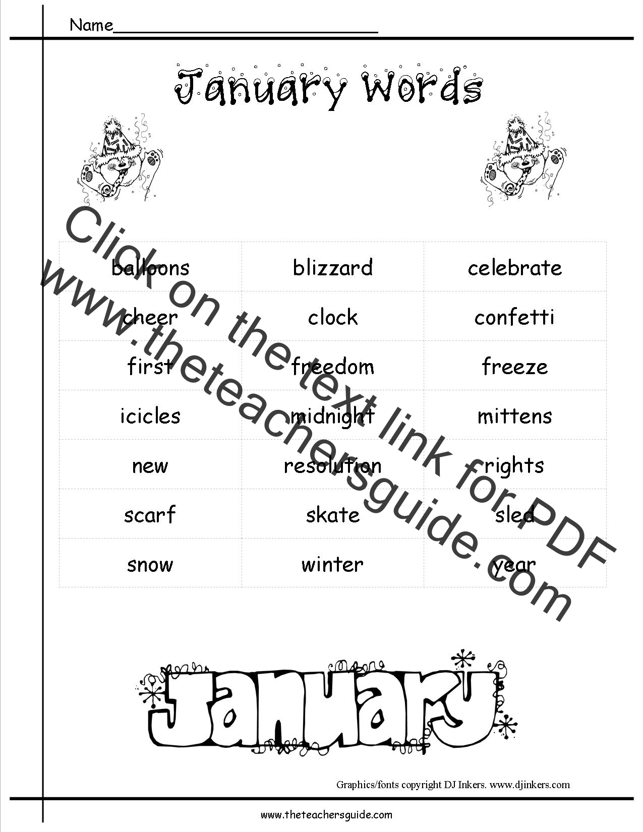 January Lesson Plans Printouts Crafts Themes and Holidays – Lesson Plan Sites