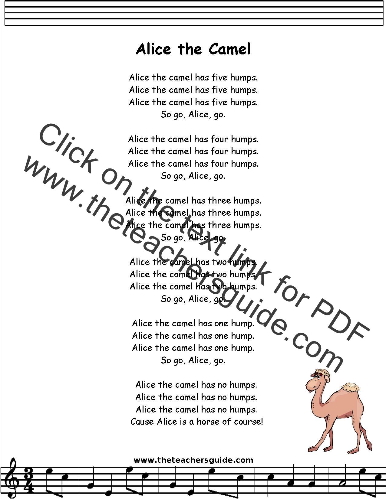 Children Songs - Alice The Camel Lyrics | MetroLyrics