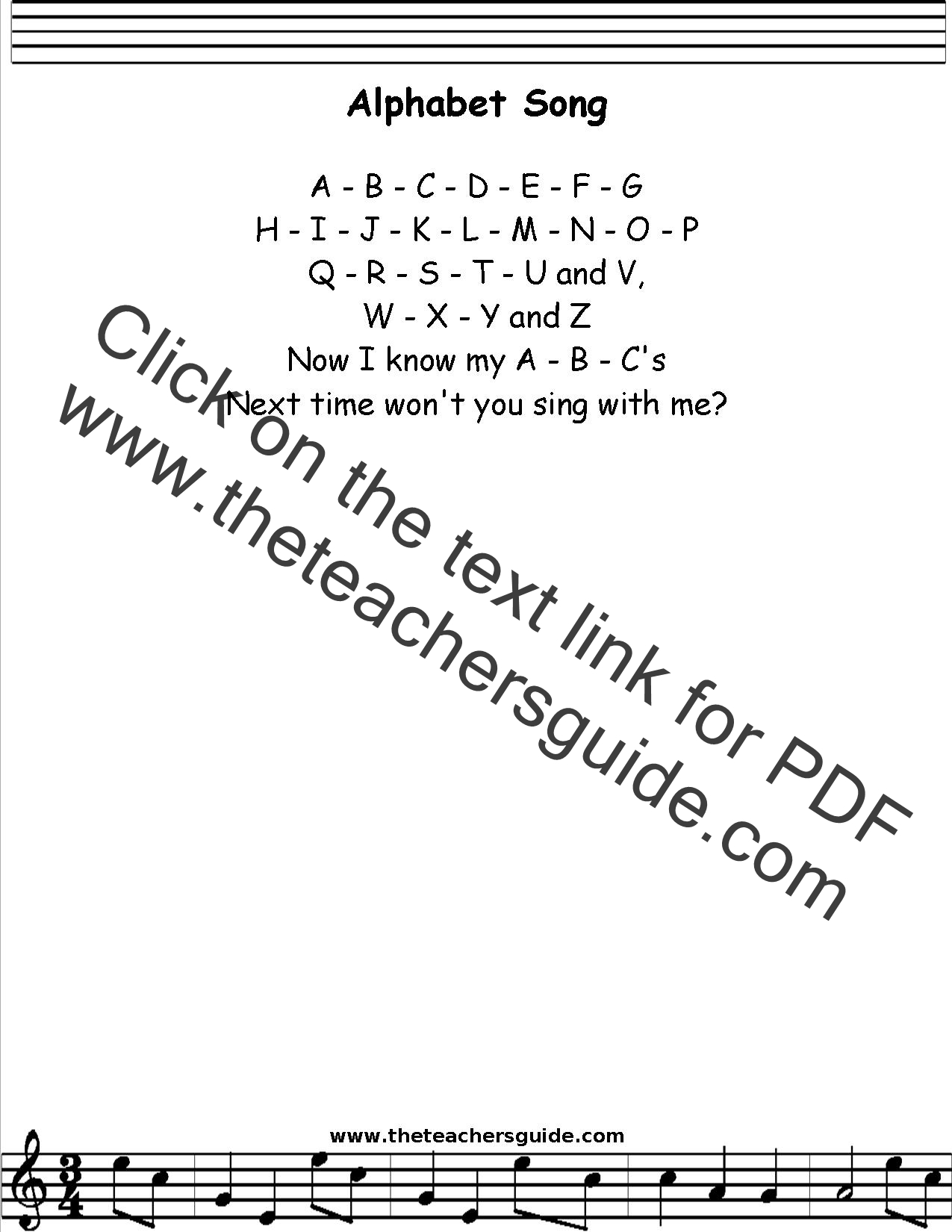 Alphabet Song Lyrics, Printout, MIDI, and Video
