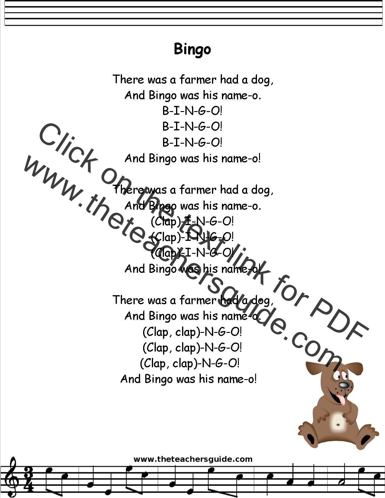 NURSERY RHYMES : Bingo - Dog Song lyrics